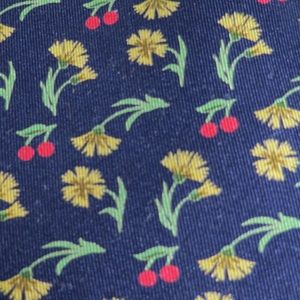 Hermes blue floral cherries tie 7558 SA